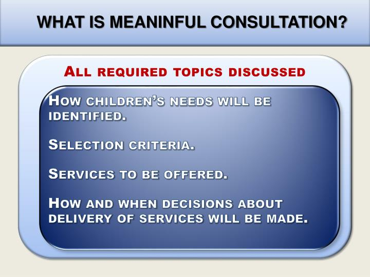 WHAT IS MEANINFUL CONSULTATION?
