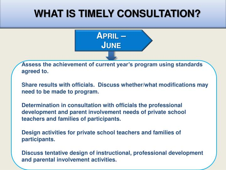 WHAT IS TIMELY CONSULTATION?