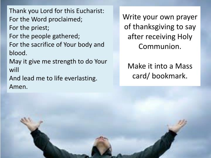 Thank you Lord for this Eucharist: