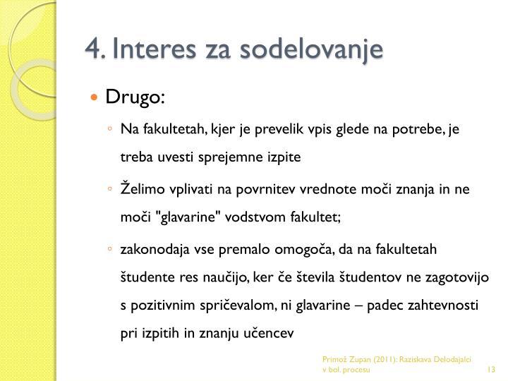 4. Interes za sodelovanje