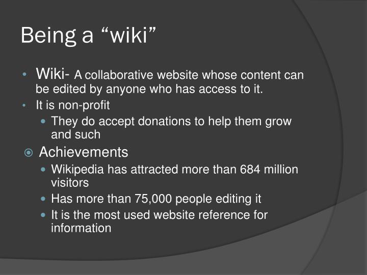 """Being a """"wiki"""""""