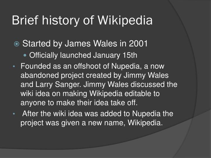 Brief history of Wikipedia