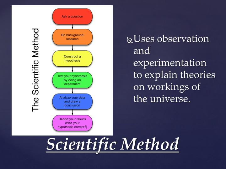 Uses observation and experimentation to explain theories on workings of the universe.