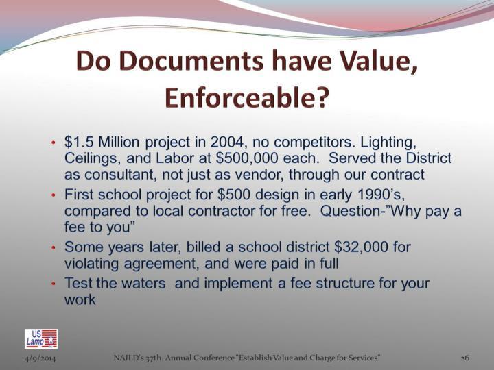 Do Documents have Value, Enforceable?