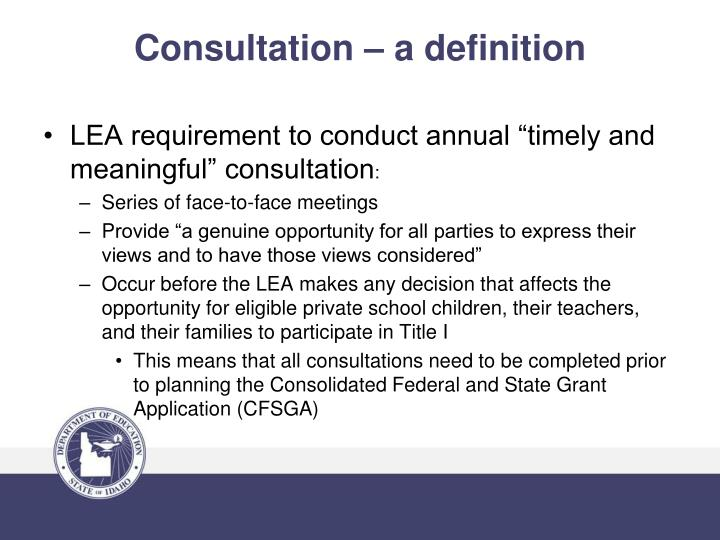 Consultation a definition
