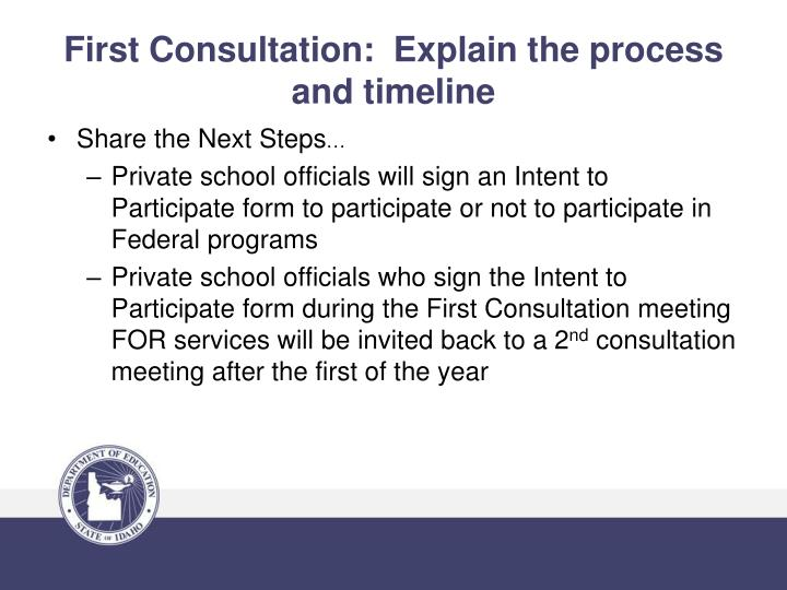 First Consultation:  Explain the process and timeline