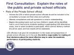 first consultation explain the roles of the public and private school officials1