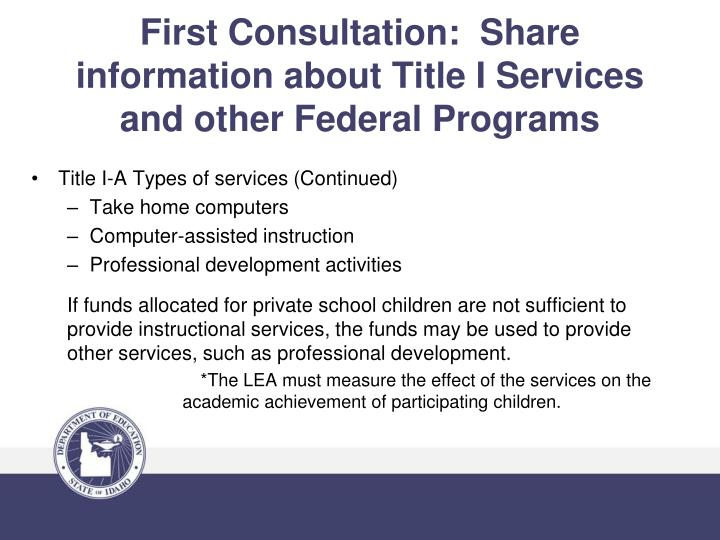 First Consultation:  Share information about Title I Services and other Federal Programs