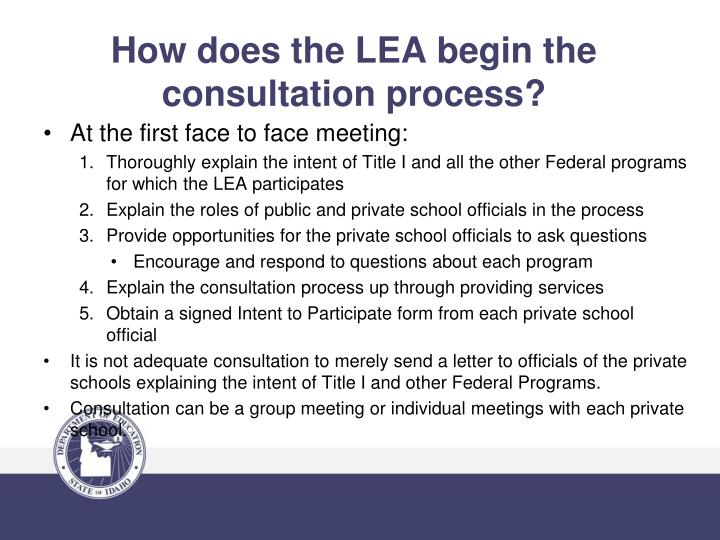 How does the LEA begin the consultation process?