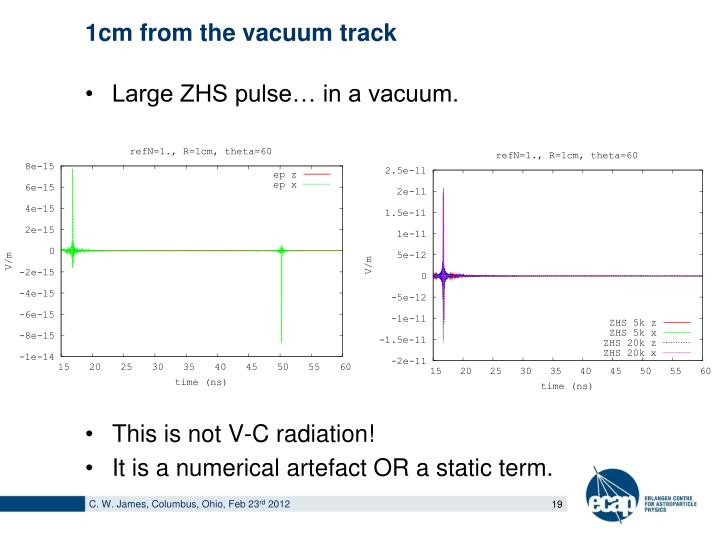1cm from the vacuum track