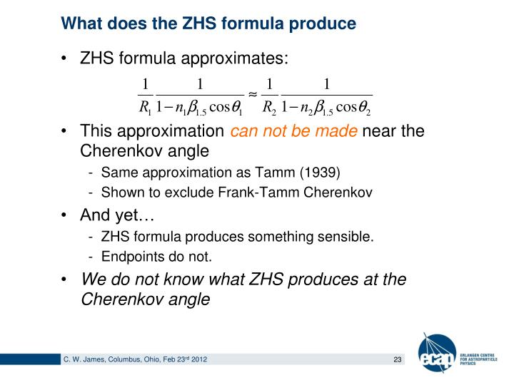 What does the ZHS formula produce