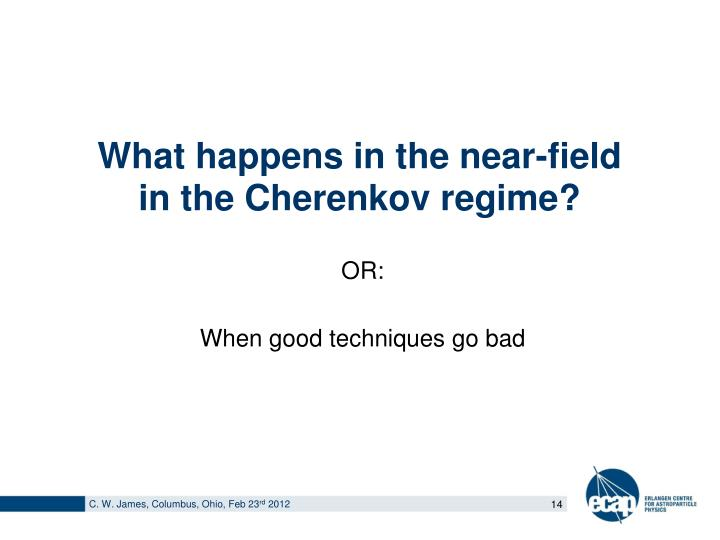 What happens in the near-field in the Cherenkov regime?