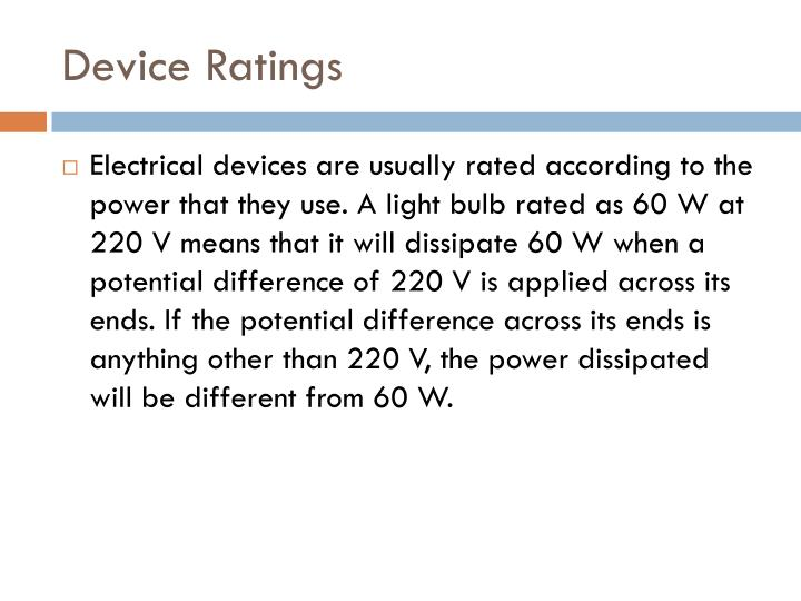 Device Ratings
