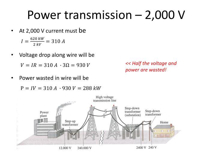 Power transmission – 2,000 V