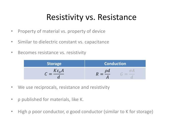 Resistivity vs. Resistance