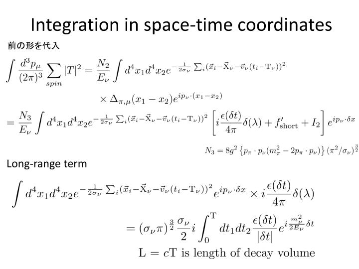 Integration in space-time coordinates