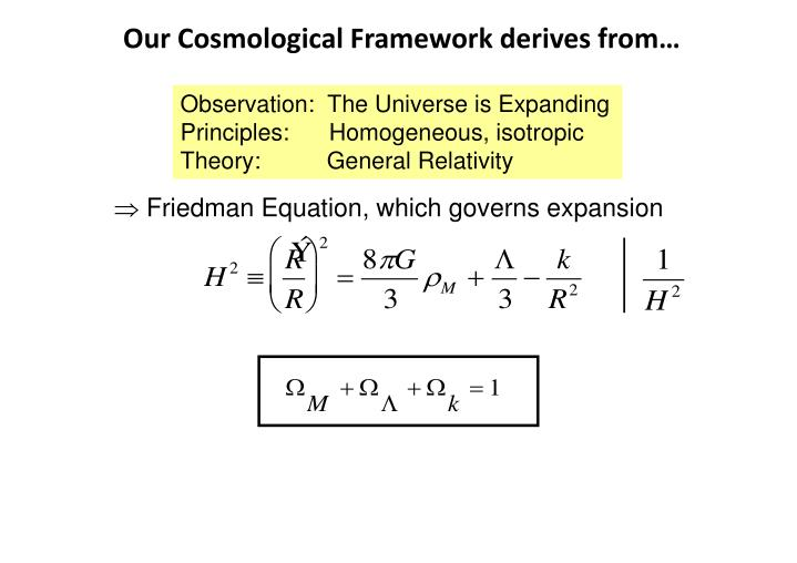 Our cosmological framework derives from