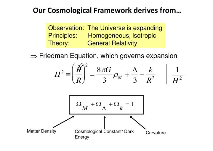 Our Cosmological Framework derives from…