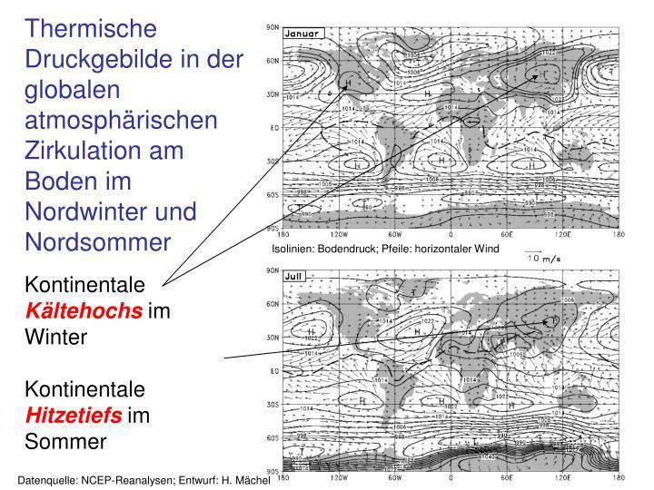 Thermische Druckgebilde in der globalen atmosphärischen