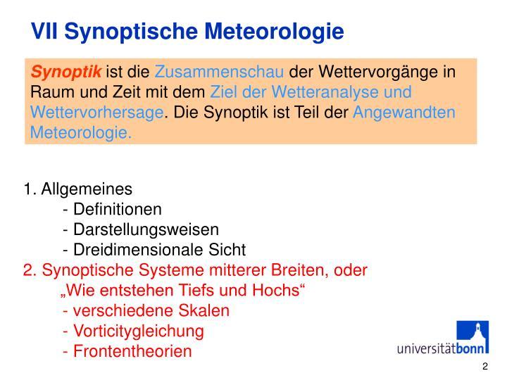VII Synoptische Meteorologie