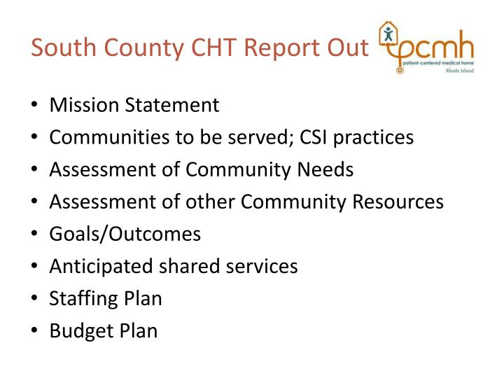 South County CHT Report Out