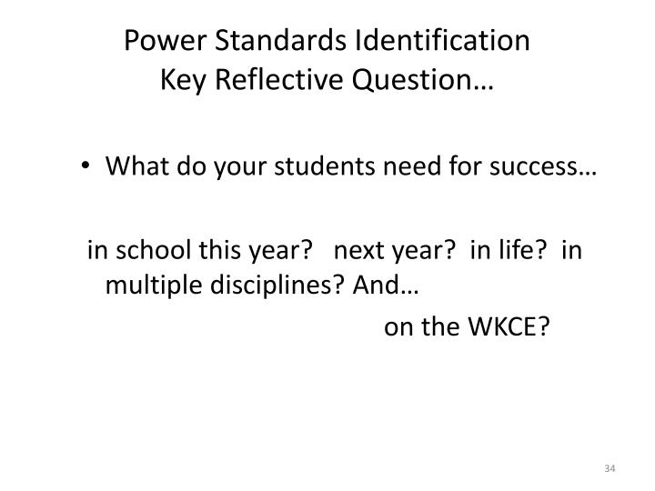 Power Standards Identification