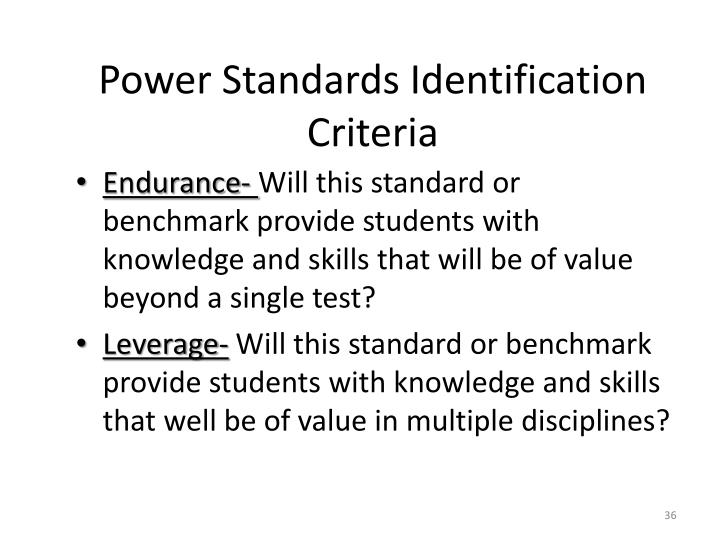 Power Standards Identification Criteria