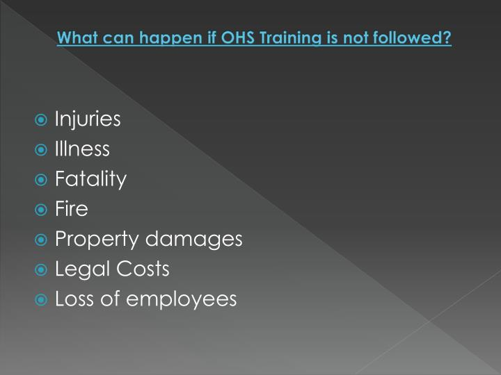 What can happen if OHS Training is not