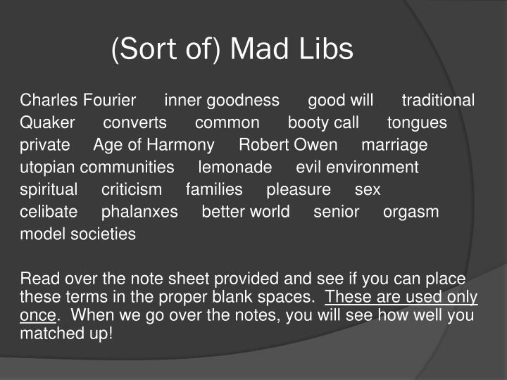(Sort of) Mad Libs