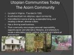 utopian communities today the acorn community
