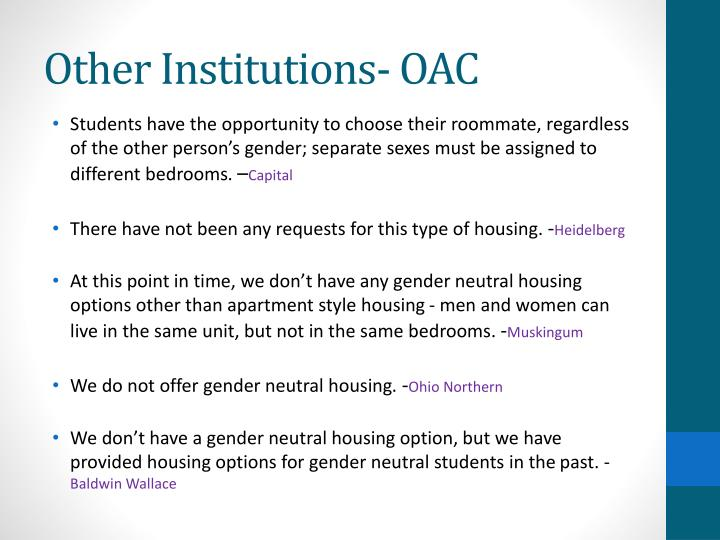 Other Institutions- OAC