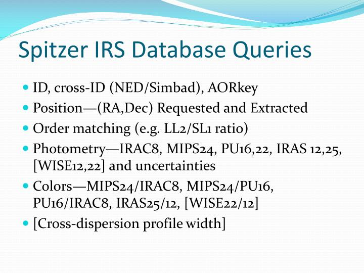 Spitzer IRS Database Queries
