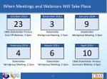 when meetings and webinars will take place