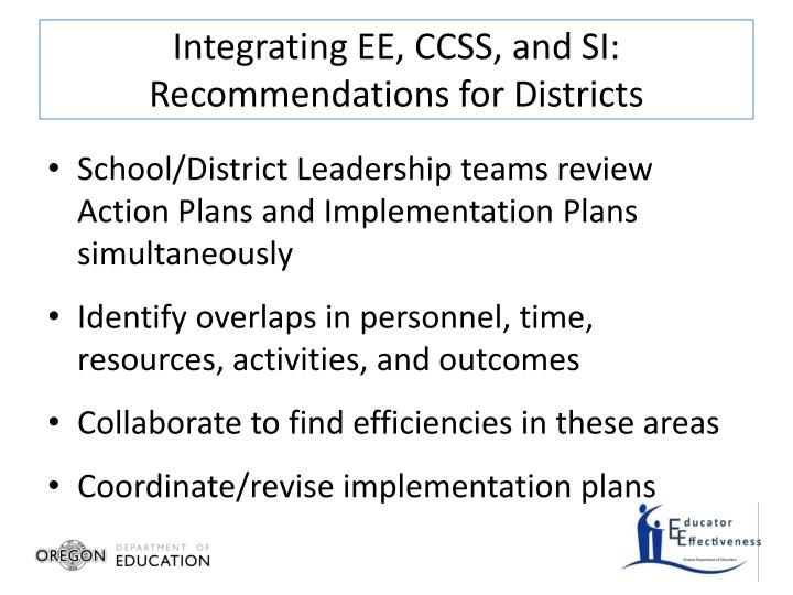 Integrating EE, CCSS, and SI: Recommendations for Districts
