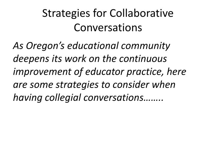Strategies for Collaborative Conversations