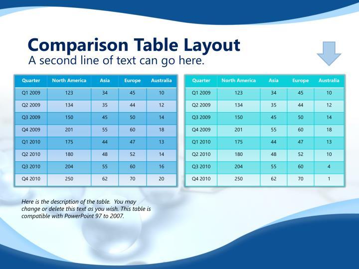 Comparison Table Layout
