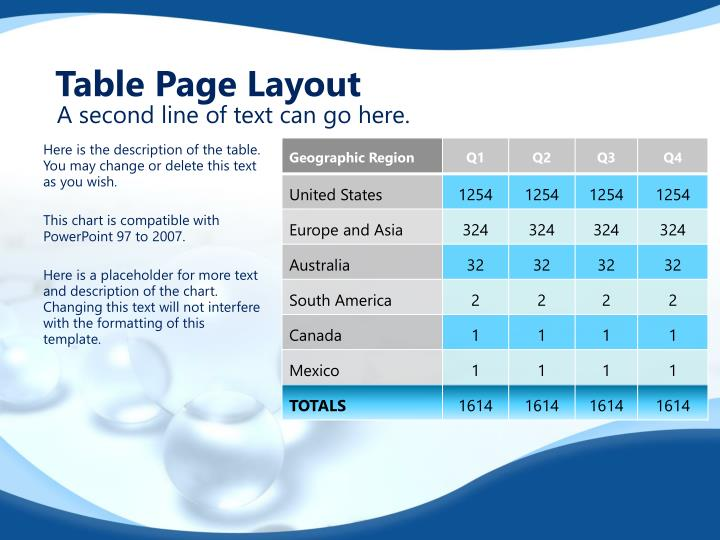 Table Page Layout