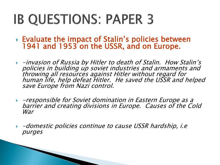 IB QUESTIONS: PAPER 3