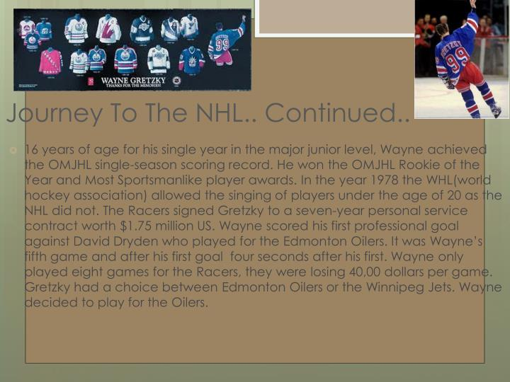 Journey To The NHL.. Continued..