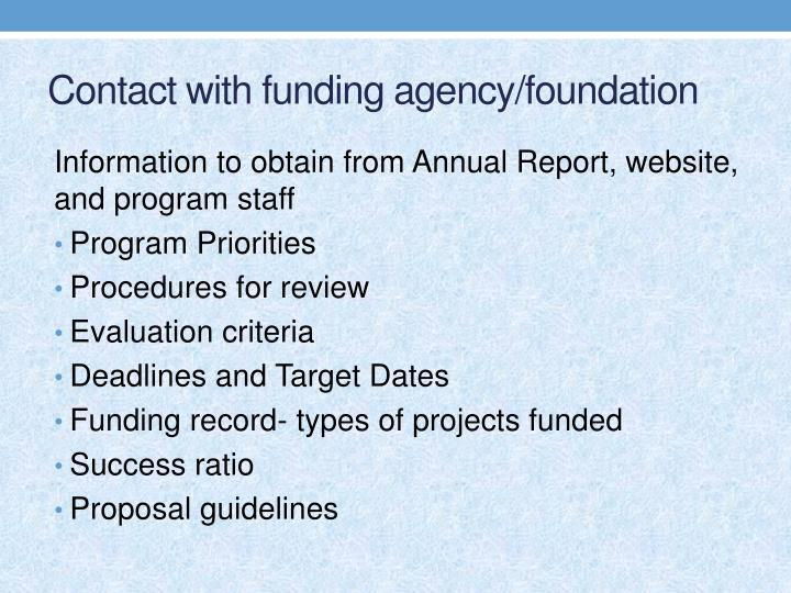 Contact with funding agency/foundation