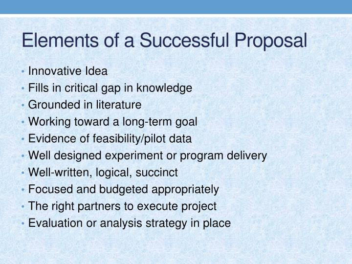 Elements of a Successful Proposal