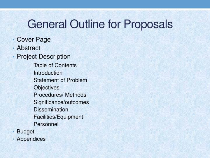 General Outline for Proposals