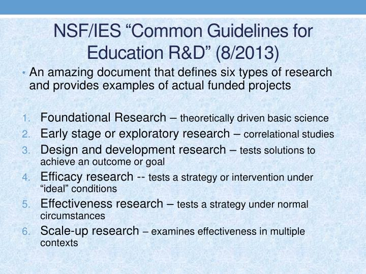 """NSF/IES """"Common Guidelines for Education R&D"""" (8/2013)"""