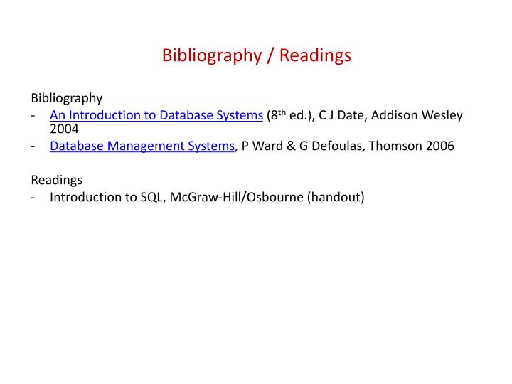 Bibliography / Readings