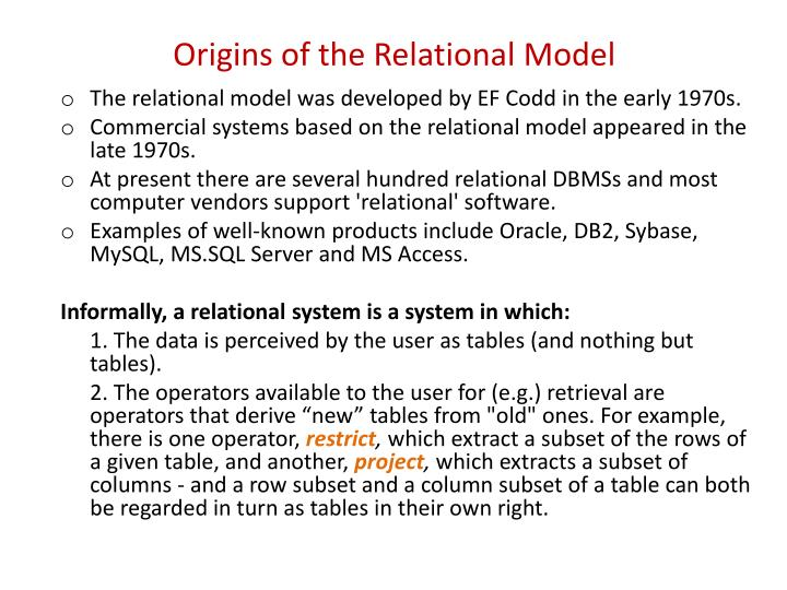 Origins of the relational model