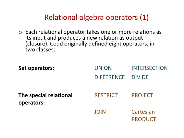 Relational algebra operators (1)