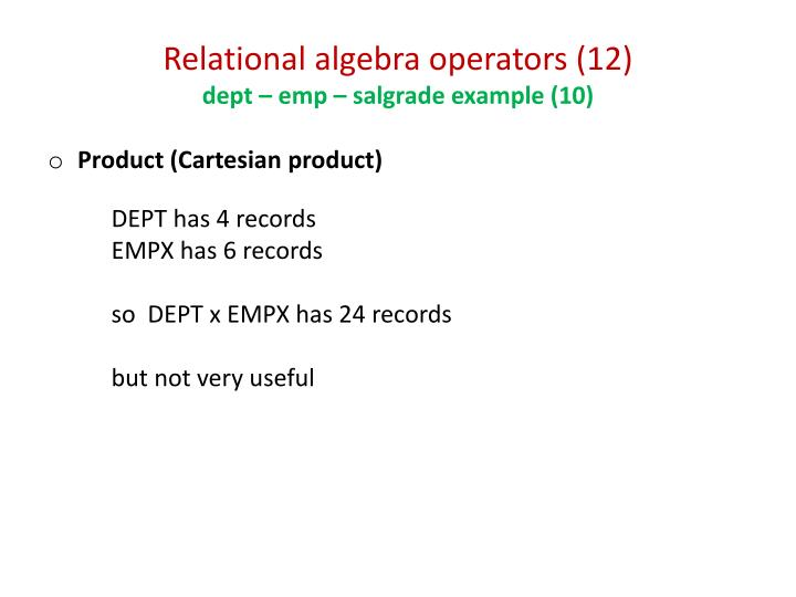 Relational algebra operators (12)
