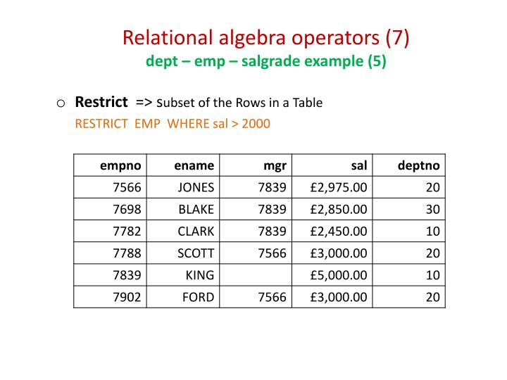 Relational algebra operators (7)