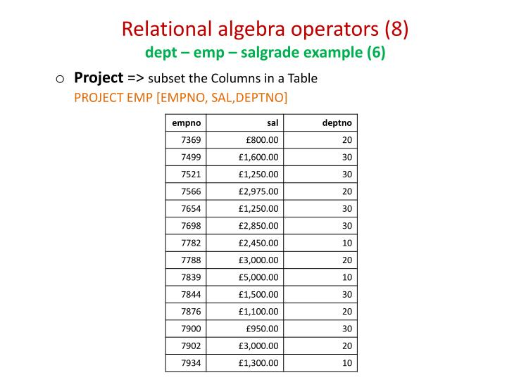 Relational algebra operators (8)