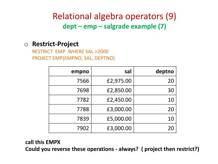 Relational algebra operators (9)